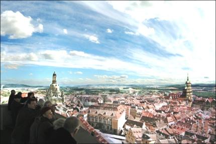 Painel com a cidade de Dresden no século 18