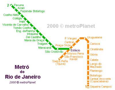 O mapa do metrô do Rio